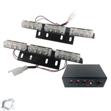 Εξωτερικά Φώτα Οδικής Βοήθειας STROBO LED 2×3 18W 10-30V IP65 Αδιάβροχα Λευκό GloboStar 33532
