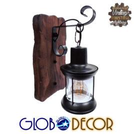 Vintage Φωτιστικό Τοίχου Απλίκα Μονόφωτο Ξύλινο με Μαύρο Μεταλλικό Φανάρι και Διάφανο Γυαλί Φ21 GloboStar BRASRA 01204