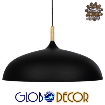 Μοντέρνο Κρεμαστό Φωτιστικό Οροφής Μονόφωτο Μαύρο Μεταλλικό Καμπάνα Φ60 GloboStar VALLETE BLACK 01259