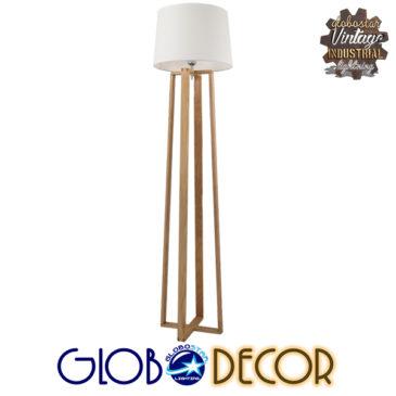 Μοντέρνο Φωτιστικό Δαπέδου Μονόφωτο Ξύλινο με Λευκό Καπέλο Φ40 GloboStar TOWER 01264