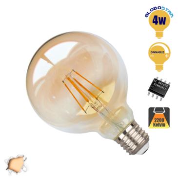 Λάμπα LED E27 G95 Γλόμπος 4W 230V 400lm 320° Edison Filament Retro Θερμό Λευκό Μελί 2200k Dimmable GloboStar 44027