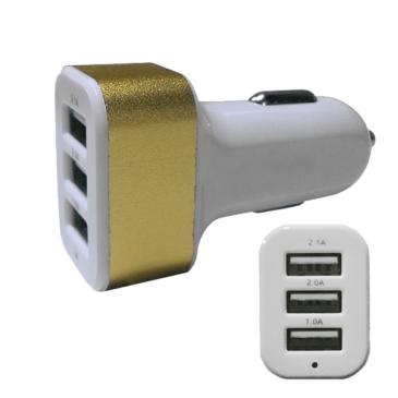 Φορτιστής Αναπτήρα Αυτοκινήτου 3 x USB Χρυσό GloboStar 69991