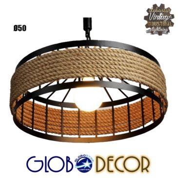 Vintage Κρεμαστό Φωτιστικό Οροφής Μονόφωτο Μαύρο Μεταλλικό με Μπεζ Σχοινί Φ50 GloboStar POLI 01147