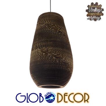 Vintage Κρεμαστό Φωτιστικό Οροφής Μονόφωτο 3D από Επεξεργασμένο Σκληρό Καφέ Χαρτόνι Καμπάνα Φ25 GloboStar IKARIA 01294