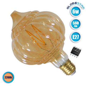 Λάμπα LED E27 Acorn 6W 230V 560lm 320° Edison Filament Retro Θερμό Λευκό Μελί 2200k Dimmable GloboStar 44035