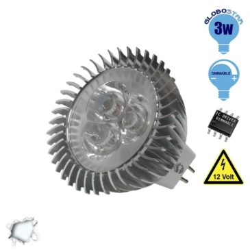 LED Spot MR16 3×1 Watt 12 Volt Ψυχρό Λευκό GloboStar 53150