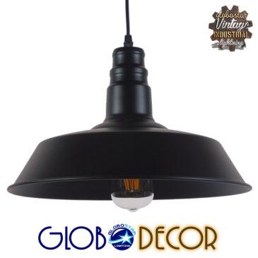 Vintage Industrial Κρεμαστό Φωτιστικό Οροφής Μονόφωτο Μαύρο Μεταλλικό Καμπάνα Φ36 GloboStar RAY BLACK 01049