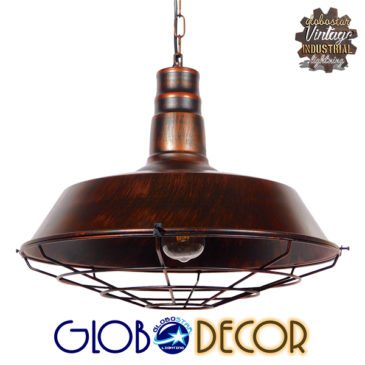 Vintage Industrial Κρεμαστό Φωτιστικό Οροφής Μονόφωτο Καφέ Σκουριά Μεταλλικό Καμπάνα Φ46 GloboStar BARN IRON RUST 01045