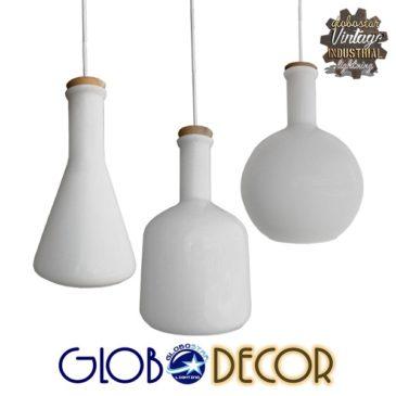 SET 3 Μοντέρνα Κρεμαστά Φωτιστικά Οροφής Μονόφωτα Γυάλινα Λευκά GloboStar BOTTLES 01061