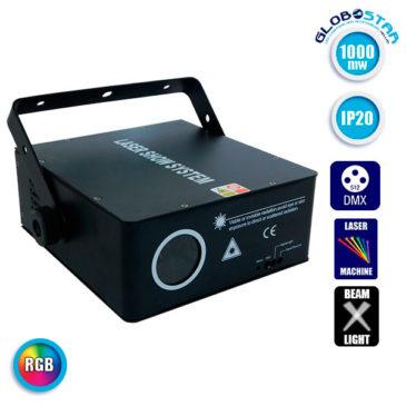 Επαγγελματικό Laser Projector 1000Mw 1W 230V 1° DMX512 RGB GloboStar 51127