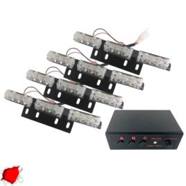 Εξωτερικά Φώτα Πυροσβεστικής STROBO LED 4×3 36W 10-30V IP65 Αδιάβροχα Κόκκινο GloboStar 88945