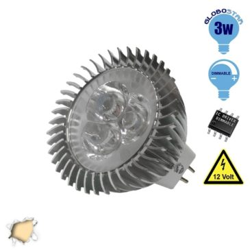 LED Spot MR16 3×1 Watt 12 Volt Θερμό Λευκό GloboStar 63150