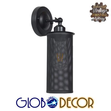 Vintage Industrial Φωτιστικό Τοίχου Απλίκα Μονόφωτο Μαύρο Μεταλλικό Πλέγμα Φ10 GloboStar HOLVIA 01160