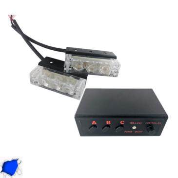 Εξωτερικά Φώτα Αστυνομίας STROBO LED 2×1 6W 10-30V IP65 Αδιάβροχα Μπλε GloboStar 77665