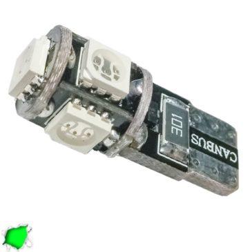 Λαμπτήρας LED T10 Can Bus με 5 SMD 5050 Πράσινο GloboStar 25001
