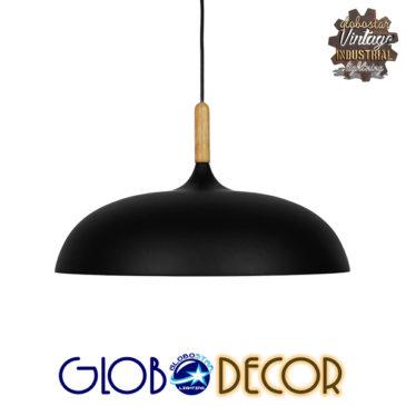 Μοντέρνο Κρεμαστό Φωτιστικό Οροφής Μονόφωτο Μαύρο Μεταλλικό Καμπάνα Φ45 GloboStar VALLETE BLACK 01258