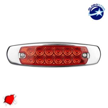 LED Πλευρικά Φώτα Όγκου Φορτηγών Αλουμινίου Νίκελ IP66 14 SMD 24 Volt Κόκκινο GloboStar 75476