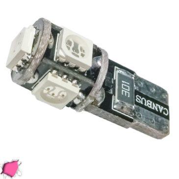 Λαμπτήρας LED T10 Can Bus με 5 SMD 5050 Φούξια GloboStar 25002