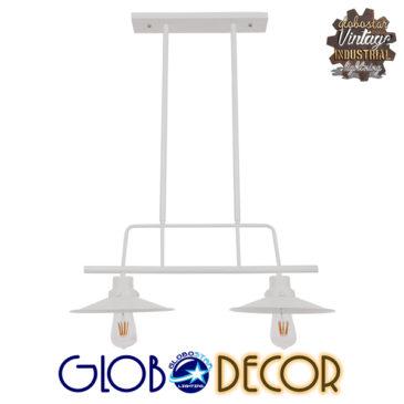 Vintage Industrial Φωτιστικό Οροφής Δίφωτο Λευκό Μεταλλικό Ράγα GloboStar BILLIARD WHITE 01008