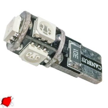 Λαμπτήρας LED T10 Can Bus με 5 SMD 5050 Κόκκινο GloboStar 81740