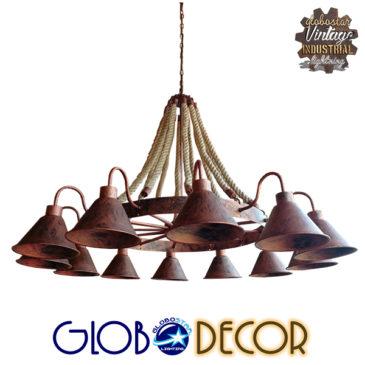 Vintage Κρεμαστό Φωτιστικό Οροφής Πολύφωτο Καφέ Σκουριά Μεταλλικό Πολυέλαιος με Μπεζ Σχοινί Φ110 GloboStar EVERSON 01192