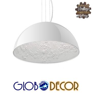 Μοντέρνο Κρεμαστό Φωτιστικό Οροφής Μονόφωτο Λευκό Γύψινο Καμπάνα Φ40 GloboStar SERENIA WHITE 01152