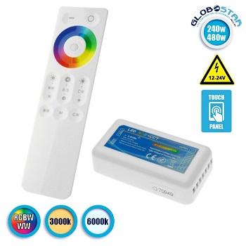 Ασύρματος Touch LED Controller RGBW+WW 240-480 Watt 12-24 Volt RF 2.4G GloboStar 04061