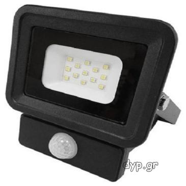 LED Προβολέας 10W slim SMD Classic Line2 Μαύρος με Ανιχνευτή Κίνησης Φως Ημέρας(FL5854)