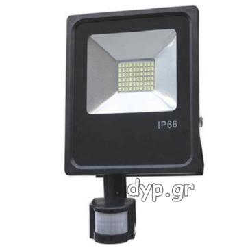 LED Προβολέας 10W slim SMD με Ανιχνευτή Κίνησης Θερμό Λευκό(FL5490)