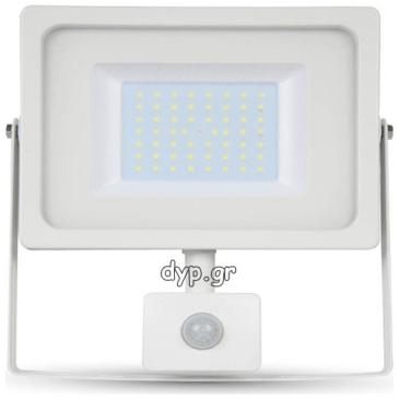 LED Προβολέας 50W SMD Λευκός IP44 με Ανιχνευτή Κίνησης Ψυχρό Λευκό(5842)