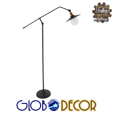 Vintage Industrial Φωτιστικό Δαπέδου Μονόφωτο Μαύρο Μεταλλικό με Χρυσό Ντουί Φ26 GloboStar WYNGE 01101