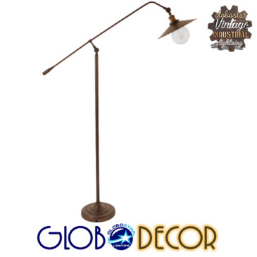 Vintage Industrial Φωτιστικό Δαπέδου Μονόφωτο Μεταλλικό Καφέ Χάλκινο με Χρυσό Ντουί Φ30 GloboStar SILENE 01243