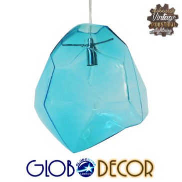 Μοντέρνο Κρεμαστό Φωτιστικό Οροφής Μονόφωτο Γυάλινο Γαλάζιο Διάφανο GloboStar LACRIMA 01306