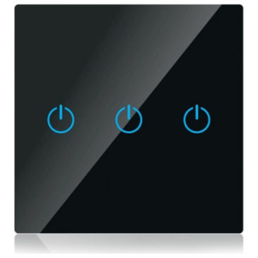 V-TAC Έξυπνος Διακόπτης Αφής Τριπλός Μαύρος με WiFi Συμβατός με Amazon Alexa και Google Home (8425)