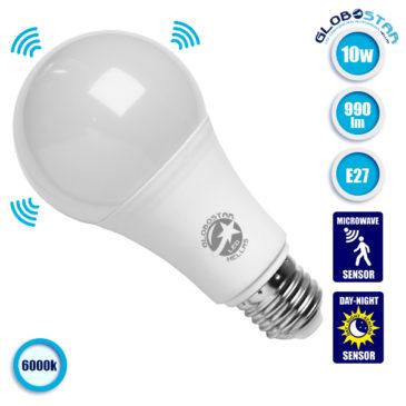 Λάμπα LED E27 A65 Γλόμπος 10W 230V 990lm 260° με Αισθητήρα Κίνησης Ψυχρό Λευκό 6000k GloboStar 01679