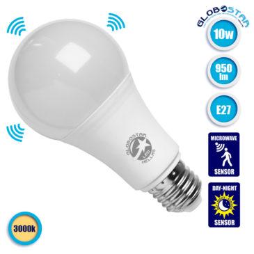 Λάμπα LED E27 A65 Γλόμπος 10W 230V 950lm 260° με Αισθητήρα Κίνησης Θερμό Λευκό 3000k GloboStar 01681
