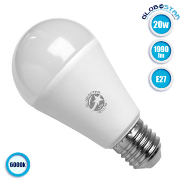 Λάμπα LED E27 A60 Γλόμπος 20W 230V 1990lm 260° Ψυχρό Λευκό 6000k GloboStar 01697