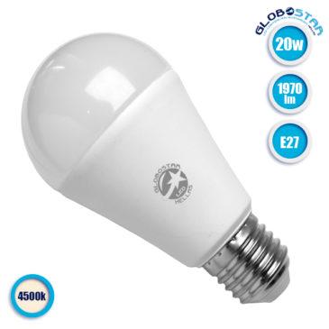 Λάμπα LED E27 A60 Γλόμπος 20W 230V 1970lm 260° Φυσικό Λευκό 4500k GloboStar 01698