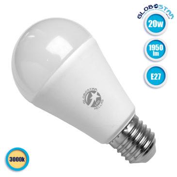 Λάμπα LED E27 A60 Γλόμπος 20W 230V 1950lm 260° Θερμό Λευκό 3000k GloboStar 01699