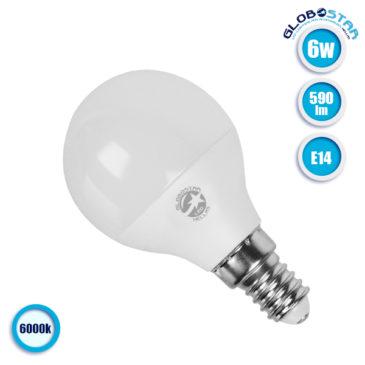 Λάμπα LED E14 G45 Mini Γλόμπος 6W 230V 590lm 260° Ψυχρό Λευκό 6000k GloboStar 01703