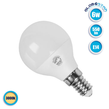 Λάμπα LED E14 G45 Mini Γλόμπος 6W 230V 550lm 260° Θερμό Λευκό 3000k GloboStar 01705