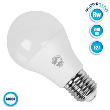 Λάμπα LED E27 A60 Γλόμπος 8W 230V 790lm 260° Ψυχρό Λευκό 6000k GloboStar 01721