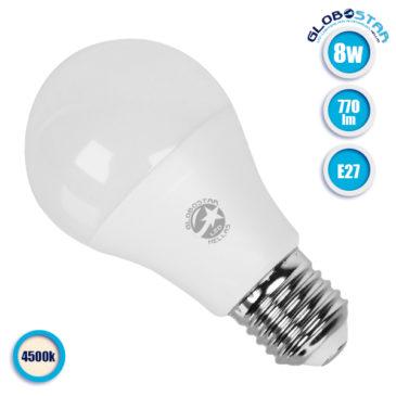 Λάμπα LED E27 A60 Γλόμπος 8W 230V 770lm 260° Φυσικό Λευκό 4500k GloboStar 01722
