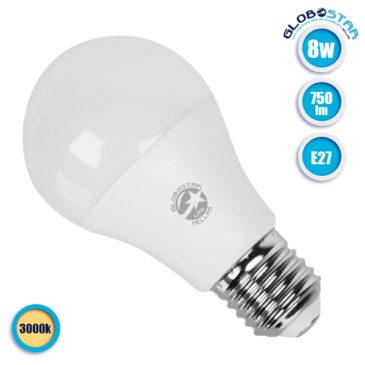 Λάμπα LED E27 A60 Γλόμπος 8W 230V 750lm 260° Θερμό Λευκό 3000k GloboStar 01723