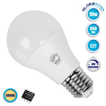 Λάμπα LED E27 A60 Γλόμπος 10W 230V 950lm 260° Θερμό Λευκό 3000k Dimmable GloboStar 01729