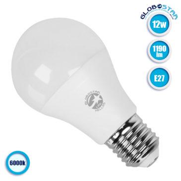 Λάμπα LED E27 A60 Γλόμπος 12W 230V 1190lm 260° Ψυχρό Λευκό 6000k GloboStar 01730