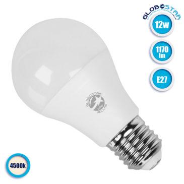 Λάμπα LED E27 A60 Γλόμπος 12W 230V 1170lm 260° Φυσικό Λευκό 4500k GloboStar 01731