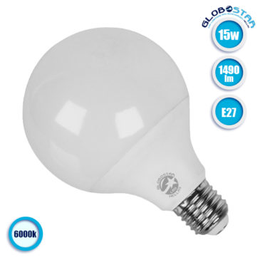 Λάμπα LED E27 G95 Γλόμπος 15W 230V 1490lm 260° Ψυχρό Λευκό 6000k GloboStar 01733