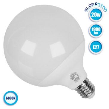 Λάμπα LED E27 G125 Γλόμπος 20W 230V 1990lm 260° Ψυχρό Λευκό 6000k GloboStar 01736