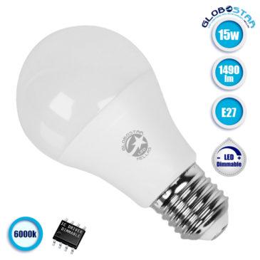 Λάμπα LED A60 E27 Γλόμπος 15W 230V 1490lm 260° Ψυχρό Λευκό 6000k Dimmable GloboStar 01739